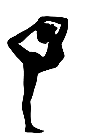 mental activity: young pretty woman training in yoga -Dancer Pose isolated
