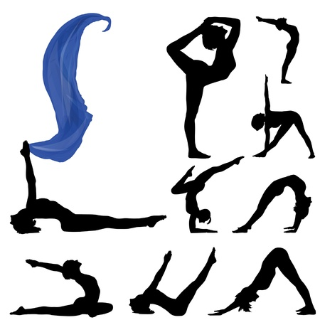 pilates: collection woman stand in yoga asana pose isolated Illustration