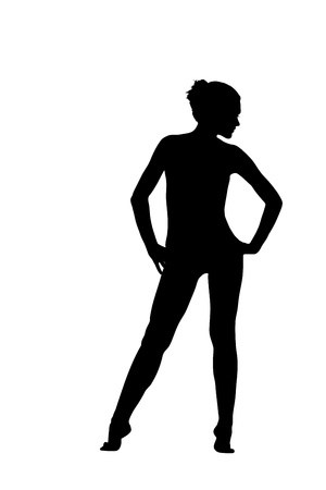 gymnasts: Young girl posing like ballet in lingerie silhouette isolated