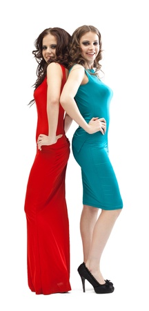 two young fashion women smoky eyes posing on camera in red and green Stock Photo - 12938707