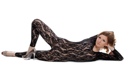 Sexy woman posing in black lace body shirt lingerie isolated Stock Photo - 12938769