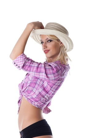 Young sexy woman with straw hat on blue background Stock Photo - 12867853