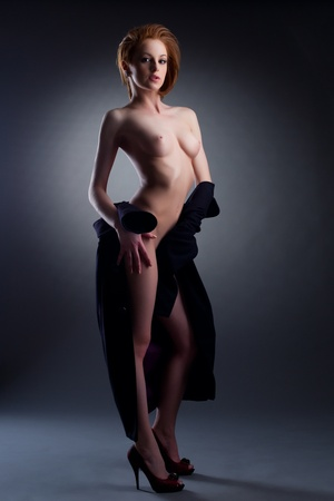 hot girl nude: Sexy nude ladie posing with undressed black coat erotic portrait