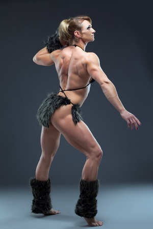 sexual anatomy: Heavy body builder woman in amazon fur costume