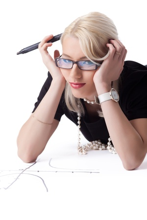 Cute blond woman thnking on drawing graph isolated Stock Photo - 13254874