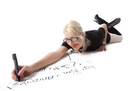 Funny blond woman write formula on white isolated photo
