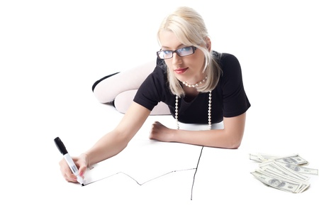 sexy funny: Clever blond sexy woman lay and draw financial graph isolated