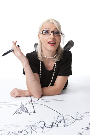 sexy funny: beauty smart blond woman with idea on graph isolated
