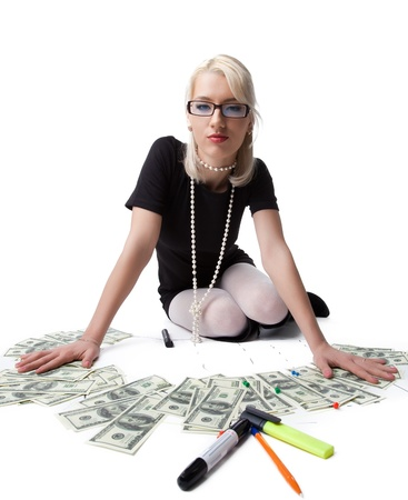 Happy blond business woman prowd of dollars isolated photo