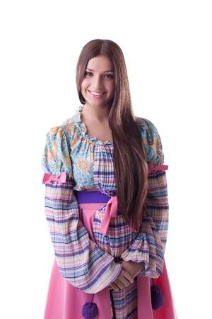 russian woman: Young Pretty girl smile  - oriental russian costume Stock Photo