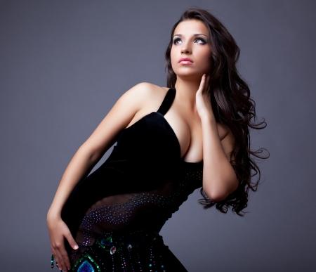 Portrait of beautiful dancer in black costume Stock Photo - 13968766