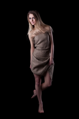 1 woman only: Full length portrait of blonde young woman in dress Stock Photo