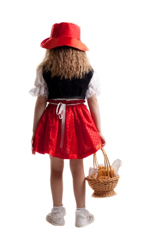 Little girl in carnival costumes  Isolated on white photo