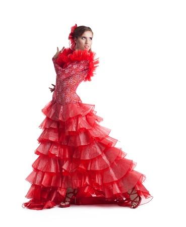 one woman gipsy flamenco dancer on studio isolated Stock Photo - 14384265