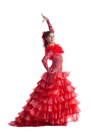 one woman gipsy flamenco dancer on studio isolated Reklamní fotografie