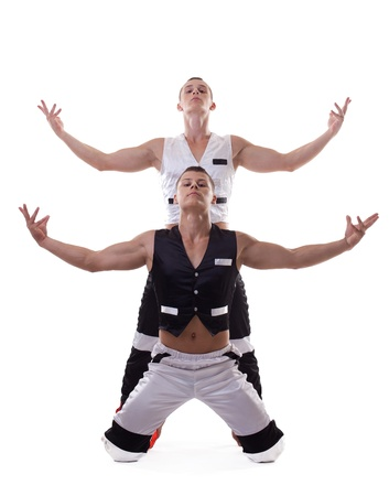 two strong athletic men show dance performance isolated photo