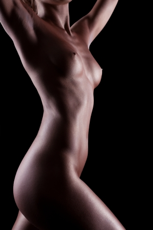 naked statue: Woman with perfect naked body like statue with metal make-up