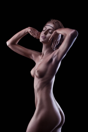 sexy naked woman: Woman with perfect nude body like statue with metal make-up