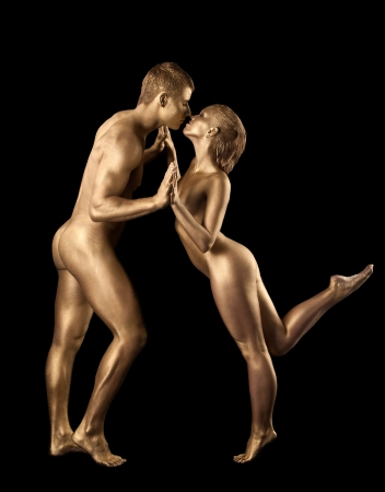 nude art model: Beauty naked couple dance with metal skin like statue