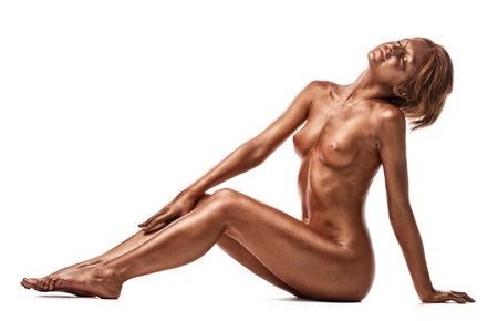 naked statue: Woman with perfect nude body like statue with metal make-up