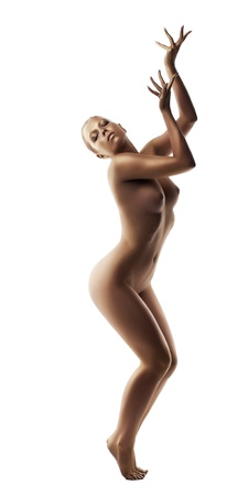 naked statue: Pretty young woman dance naked with perfect body and gold skin
