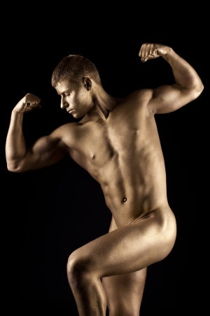 nude sport: Strong athletic man naked portrait with metal skin