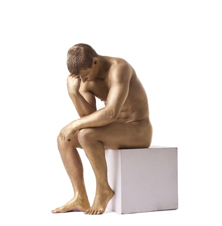 naked statue: Strong man posing nude studio portrait isolated Stock Photo