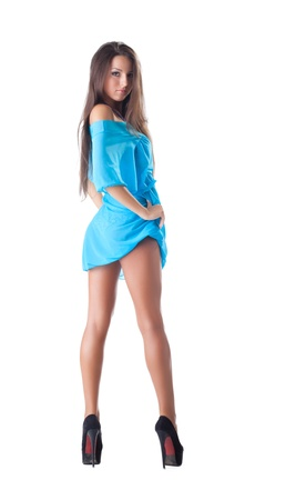 young beauty woman in blue cape isolated
