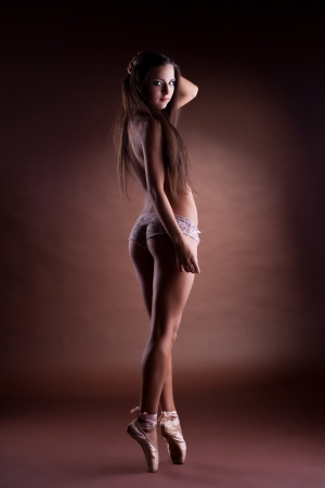 amazing girl stand topless on ballet pointes Stock Photo - 15200717