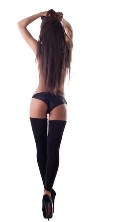 niñas en ropa interior: linda chica sexy con pelos largos en negro lencería salir