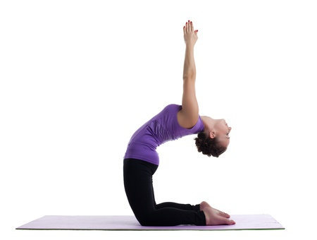 woman as yoga instructor posing in asana on rubber mat isolated Stock Photo - 15231207