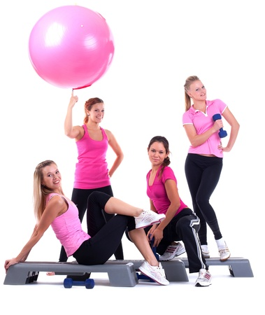 step: young group women fitness instructor on stepper with accessories isolated