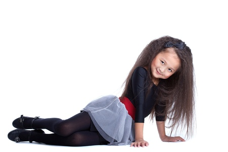 Full length portrait of fashion asian little girl  Isolated on white