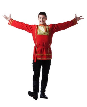 russian man: Full length portrait of dancer in traditional russian costume  Isolated on white Stock Photo