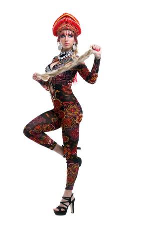 gogo girl: In voller L�nge Portrait der russischen go-go girl isoliert auf wei� Lizenzfreie Bilder
