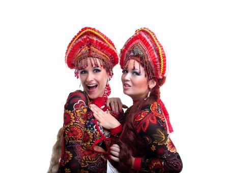 kokoshnik: Portrait of  russian go-go girls  Isolated on white Stock Photo