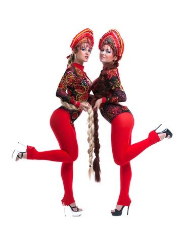 kokoshnik: Full length portrait of russian go-go girls  Isolated on white Stock Photo