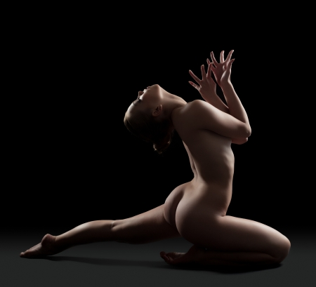 nude gymnast: Full length portrait of sexy nude gymnast Stock Photo