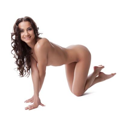 naked young women: Обнаженная красивая и сексуальная молодая женщина, изолированных на белом Фото со стока