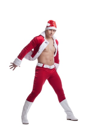 Full length portrait of young and sexy Santa Claus  Isolated on white photo