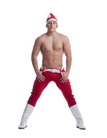 Full length portrait Striptease dancer in christmas costume undress  Isolated on white photo