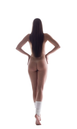 nude woman back: Nude brunette woman with beautiful hair