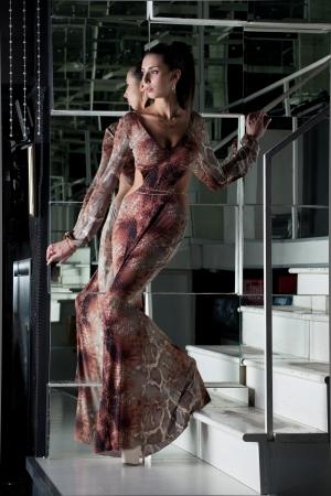 snakeskin: Full length portrait of sexy brunette woman on stairs in nightclub