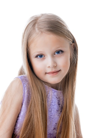pretty girl: Portrait of beautiful blonde little girl in purple dress  Isolated on white