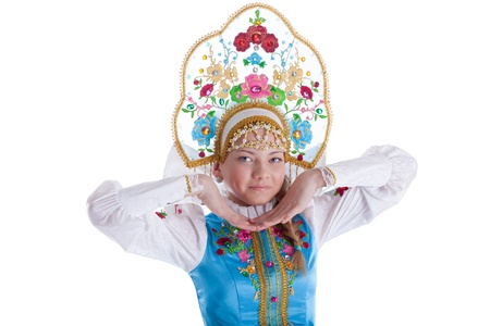kokoshnik: Pretty young girl in kokoshnik  Isolated on white