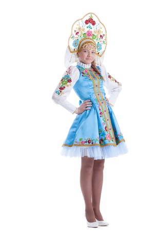 russian woman: Pretty young girl in blue oriental russian costume  Isolated on white Stock Photo