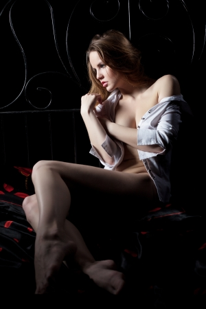Full length portrait of sexy young woman lying on bed in dark Stock Photo - 17383427