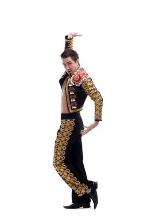 toreador: Full length portrait of handsome toreador in black costume  Isolated on white Stock Photo