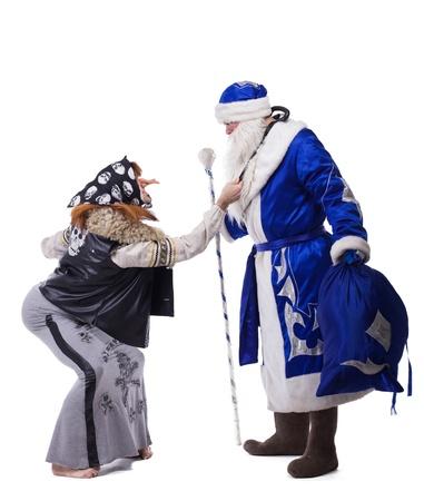 ded moroz: Baba Yaga and Father Christmas  Isolated on white