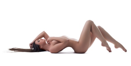 nude in bed: beautiful young woman posing nude on Isolated white background Stock Photo